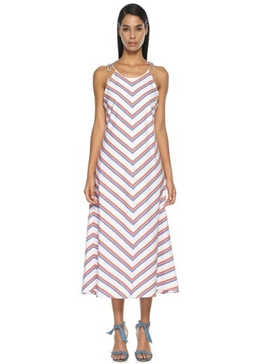 Mds Stripes Elbise Beyaz